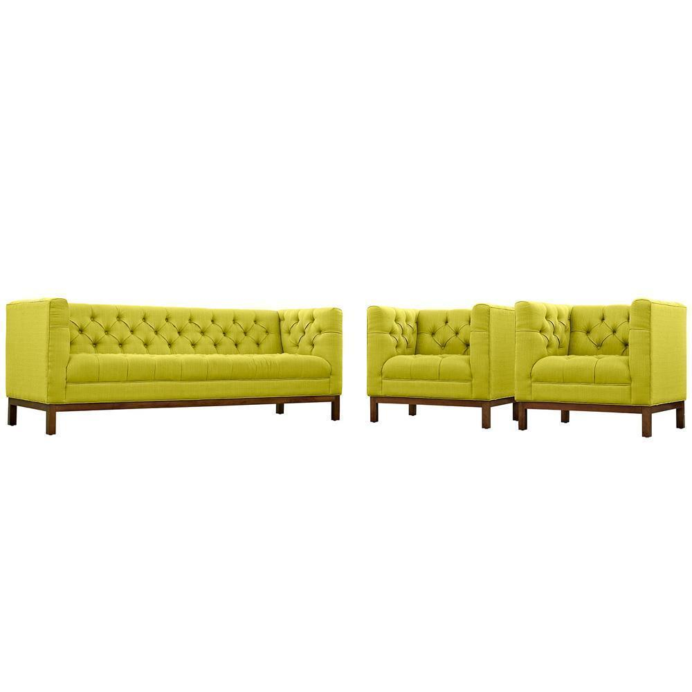 Modway Panache Living Room Set Upholstered Fabric Set of 3 - Wheatgrass
