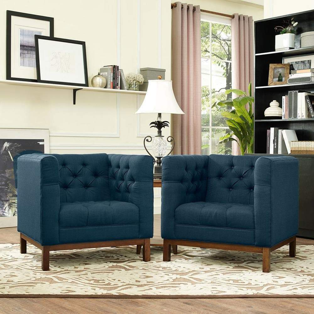 Modway Panache Living Room Set Upholstered Fabric Set of 2 - Azure