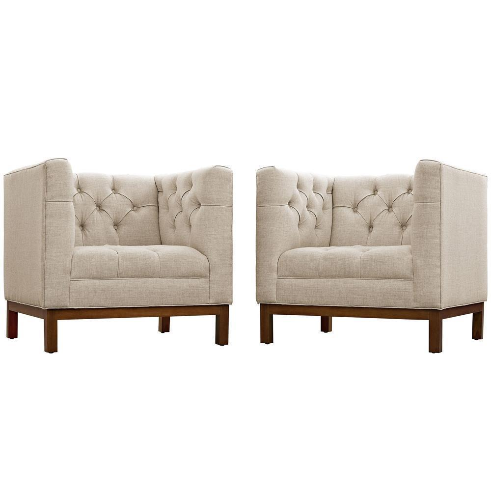 Modway Panache Living Room Set Upholstered Fabric Set of 2 - Beige
