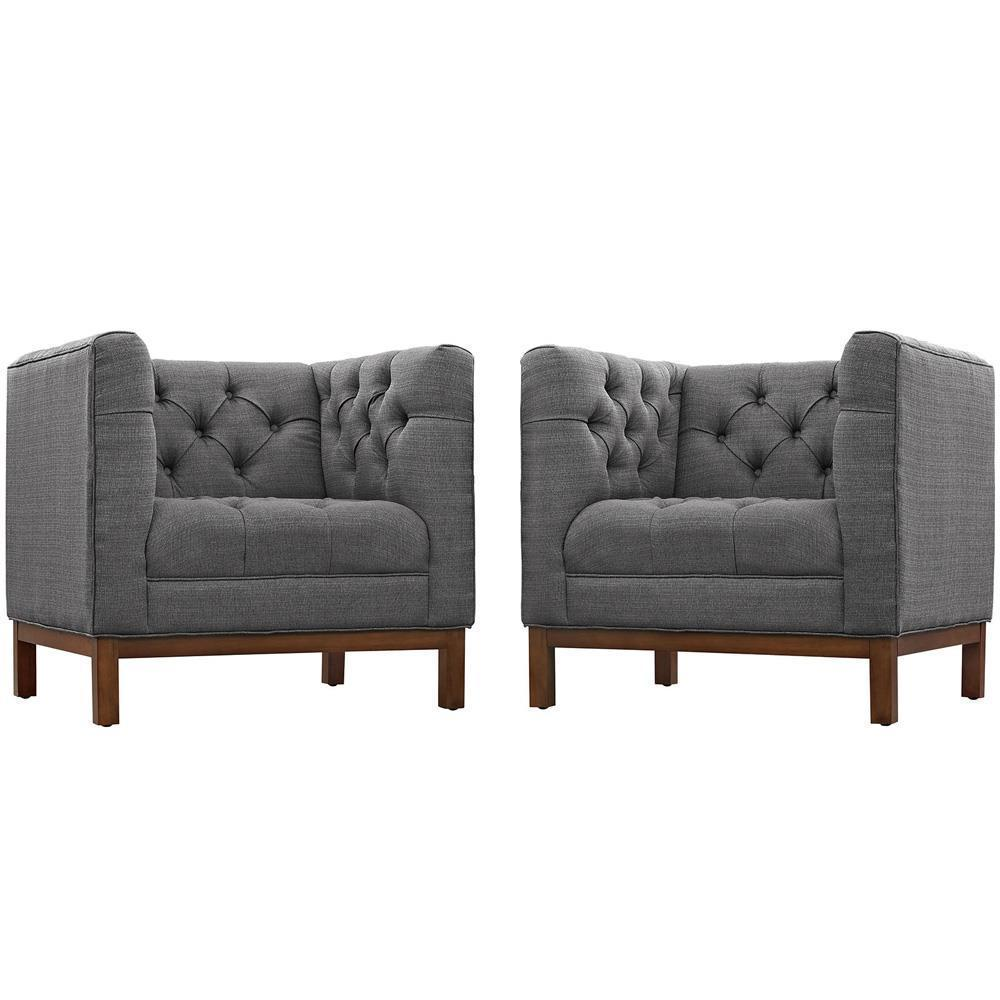 Modway Panache Living Room Set Upholstered Fabric Set of 2 - Gray