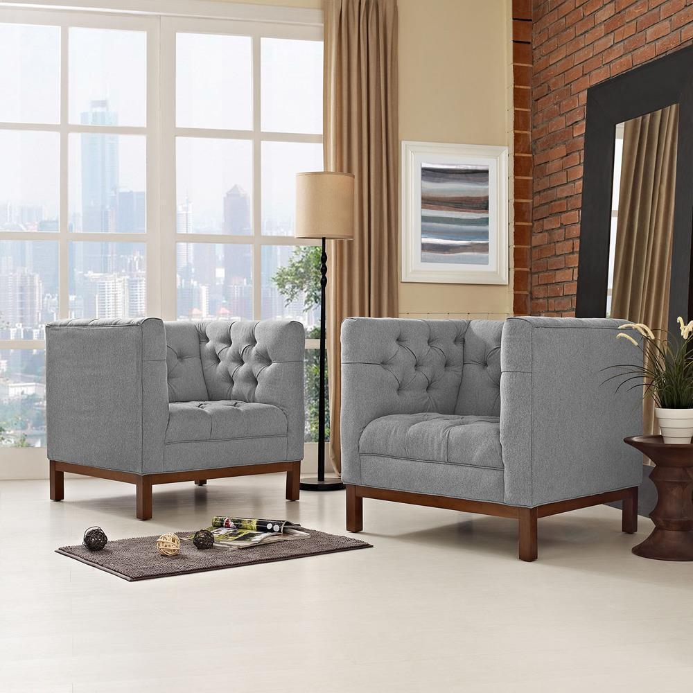 Modway Panache Living Room Set Upholstered Fabric Set of 2 - Expectation Gray