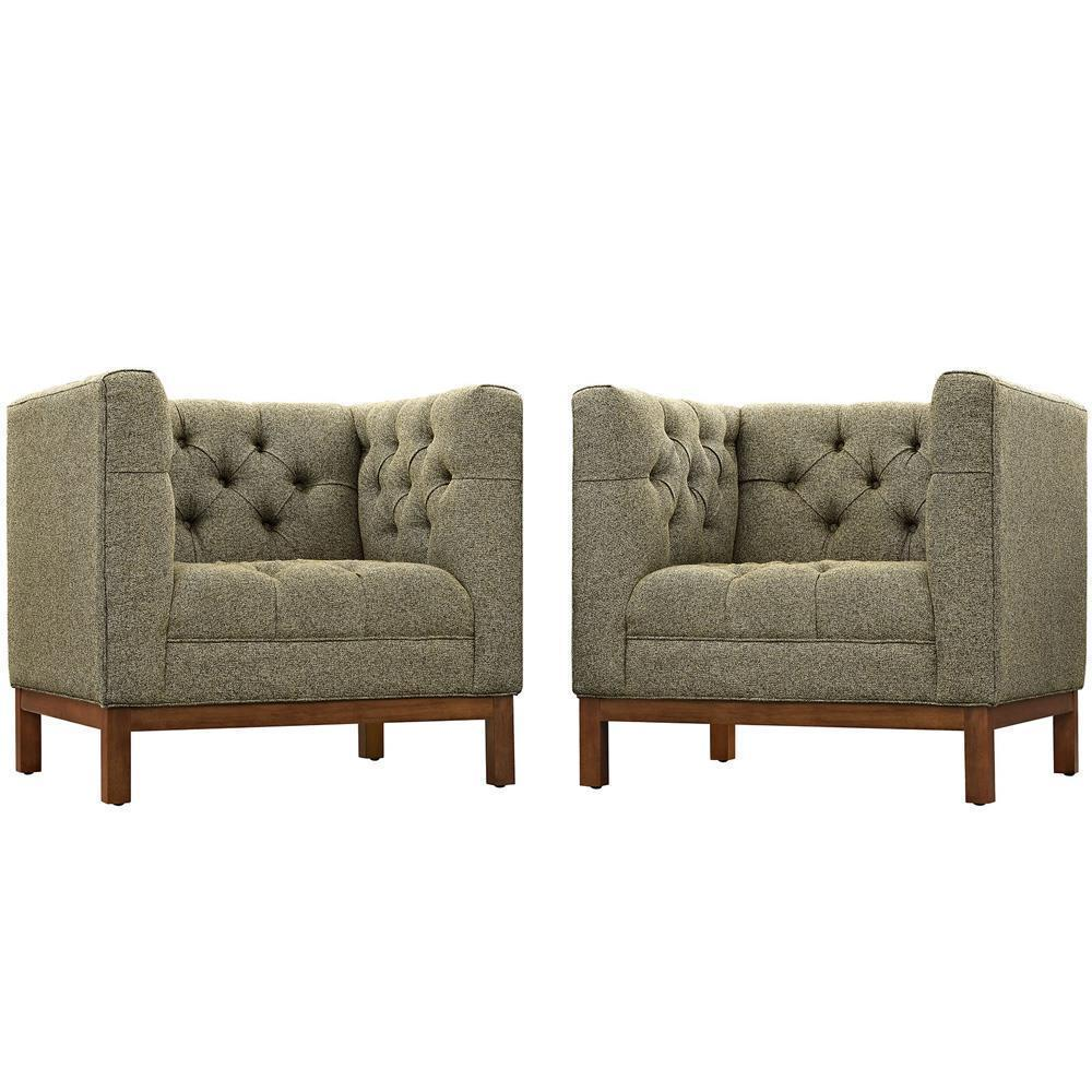 Modway Panache Living Room Set Upholstered Fabric Set of 2 - Oatmeal