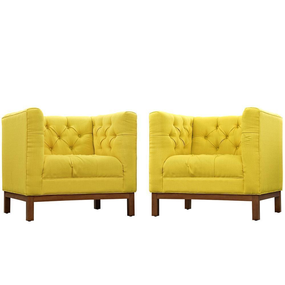 Modway Panache Living Room Set Upholstered Fabric Set of 2 - Sunny