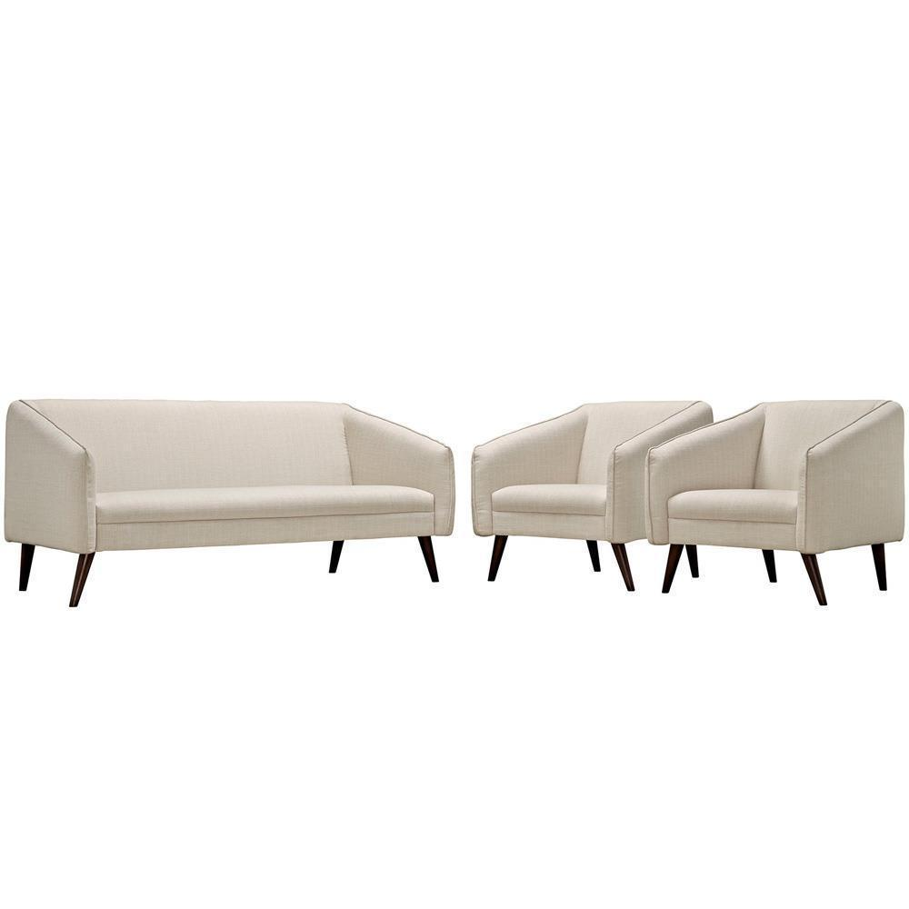 Modway Slide Living Room Set Set of 3 - Beige