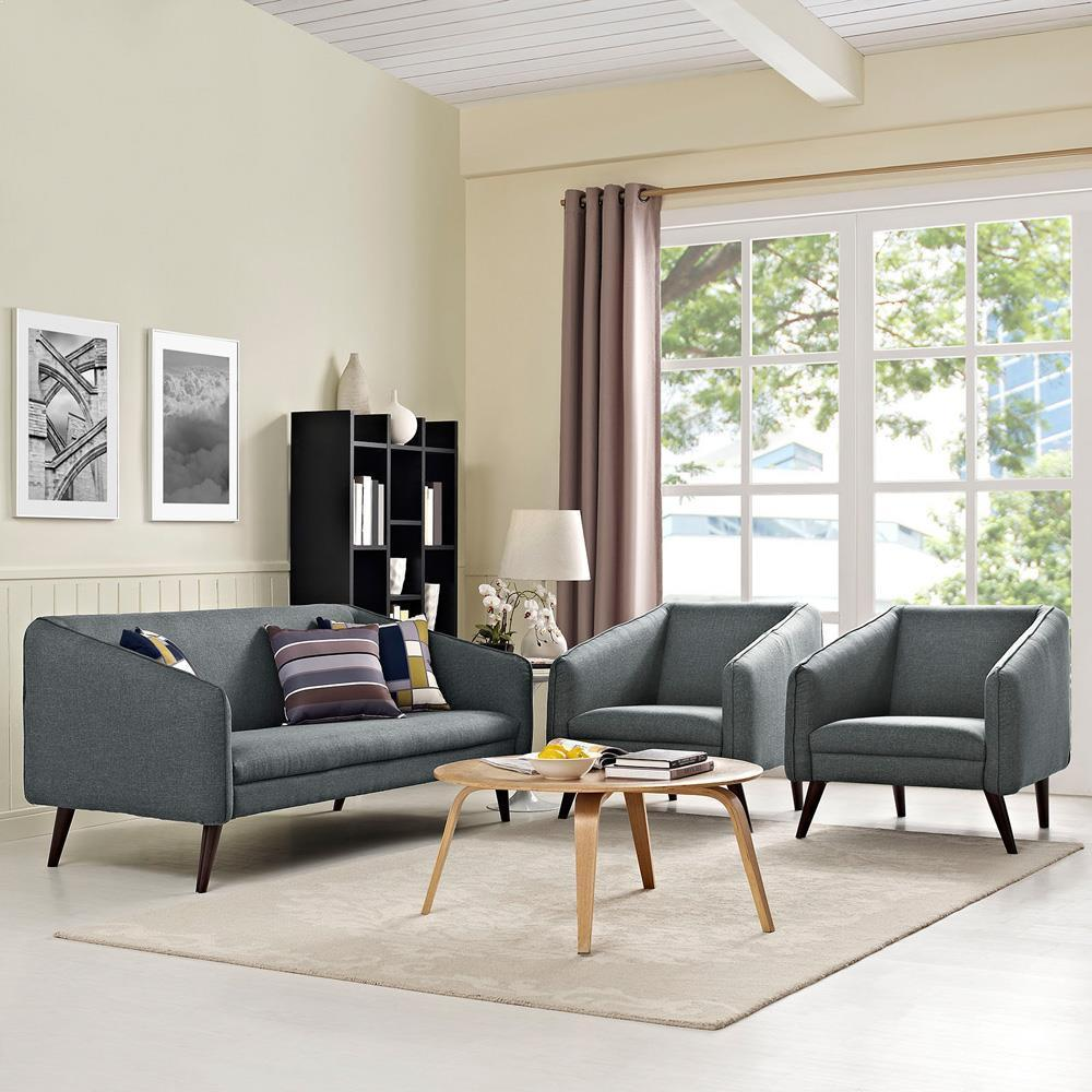 Modway Slide Living Room Set Set of 3 - Gray