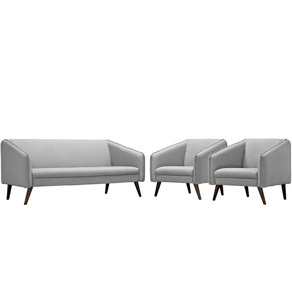 Modway Slide Living Room Set Set of 3 - Light Gray
