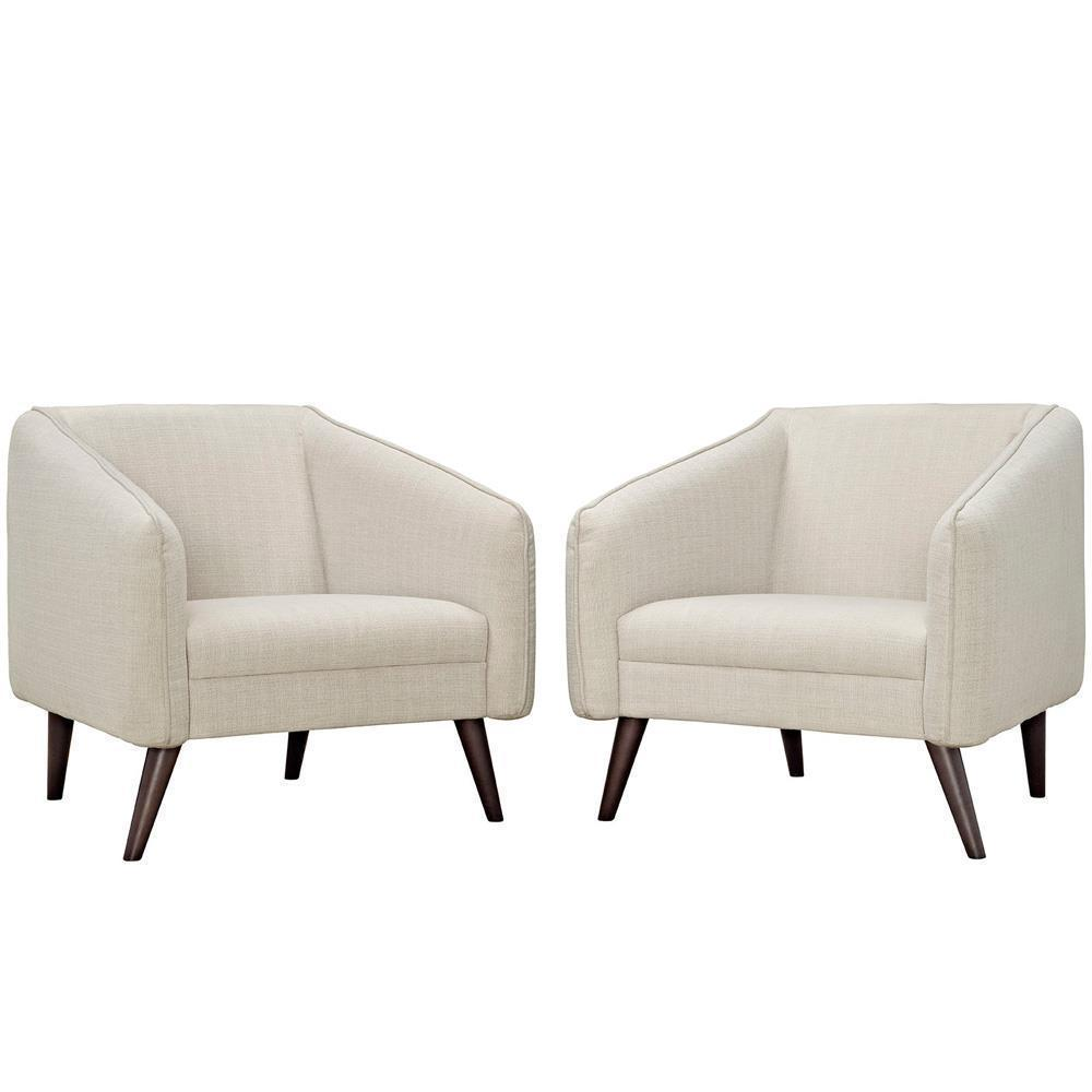 Modway Slide Armchairs Set of 2 - Beige
