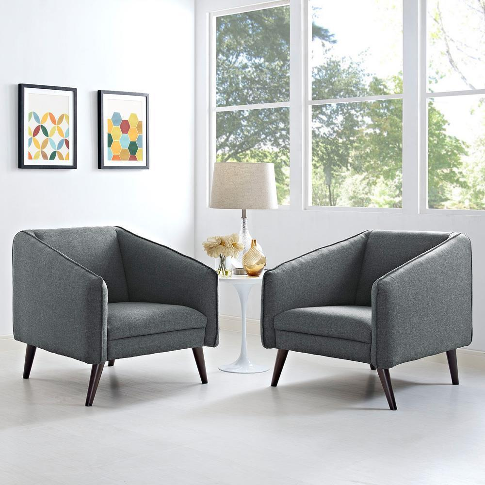 Modway Slide Armchairs Set of 2 - Gray