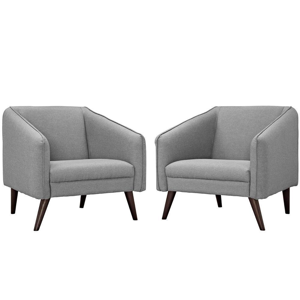 Modway Slide Armchairs Set of 2 - Light Gray