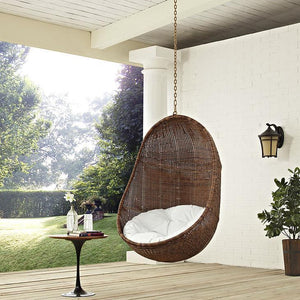 Modway Bean Outdoor Patio Swing Chair - Coffee White