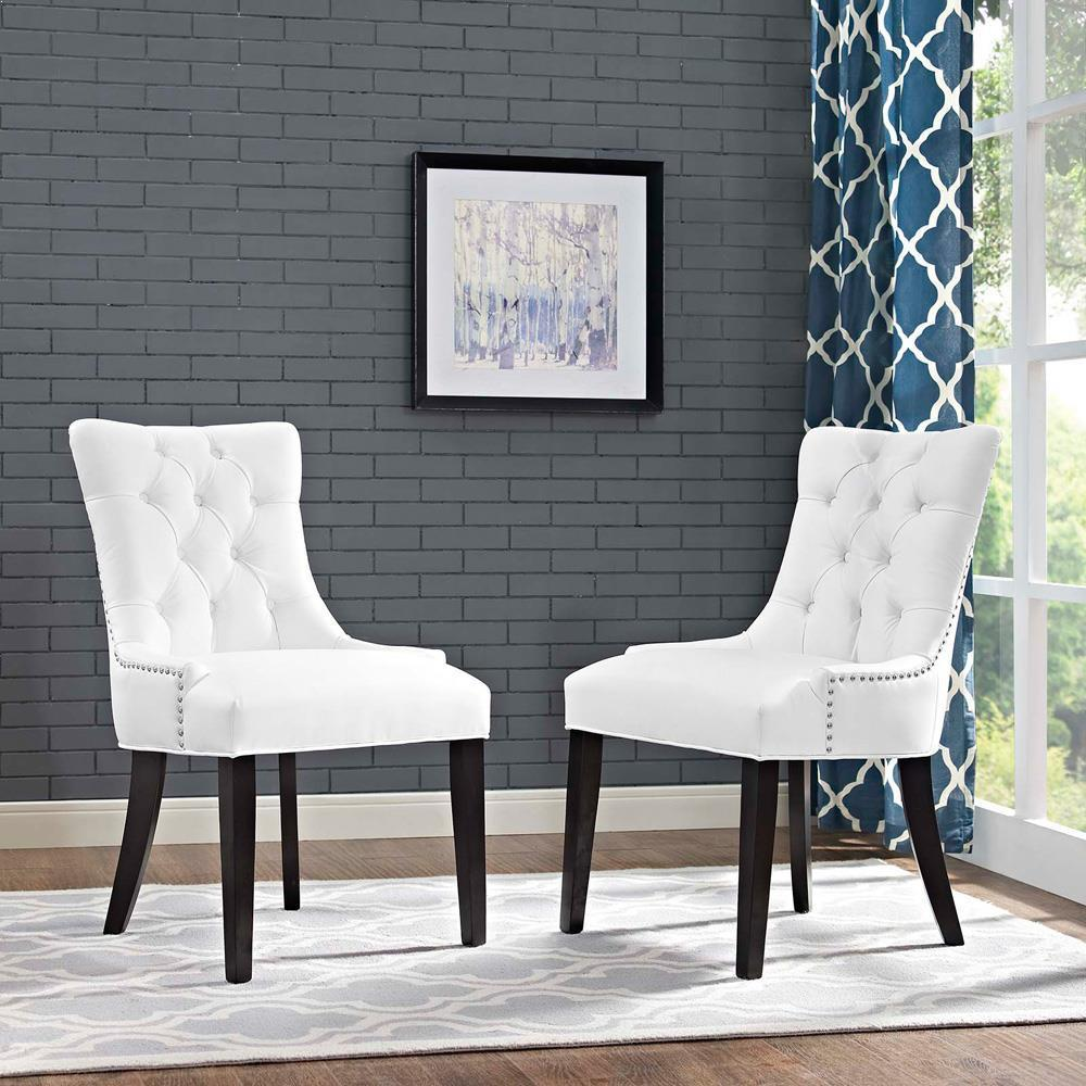 Modway Regent Set of 2 Vinyl Dining Side Chair - White