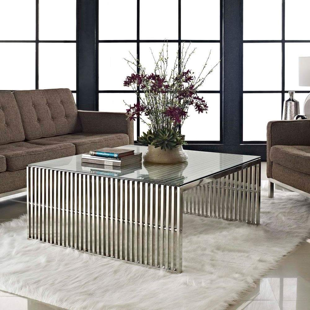 Modway Gridiron Coffee Table Silver Maplenest
