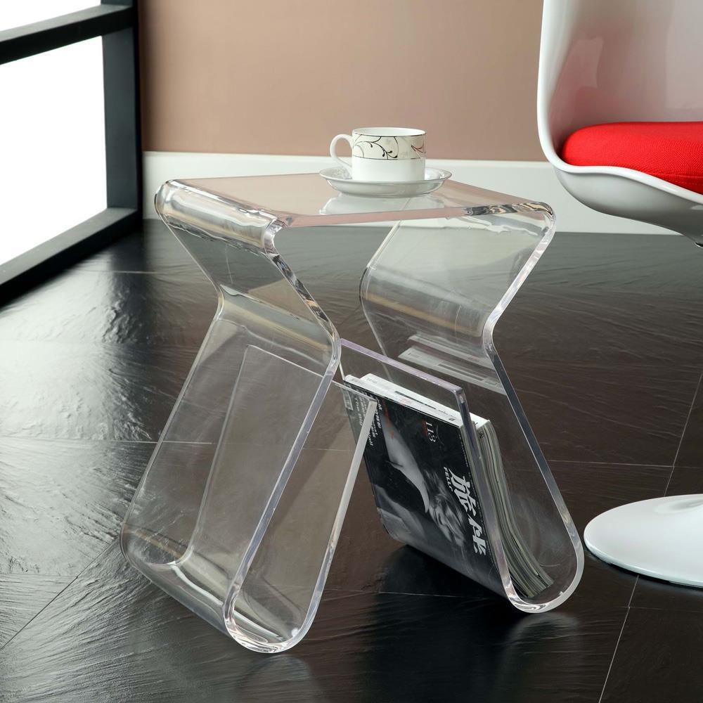 Modway Magazine Acrylic Side Table - Clear