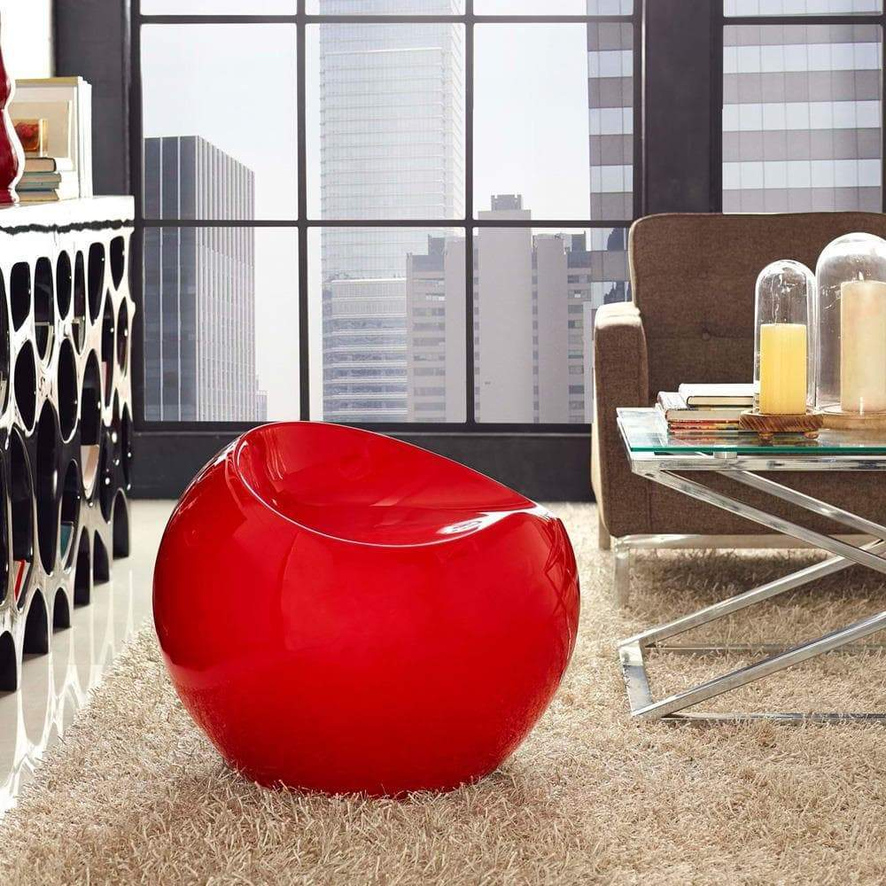 Modway Plop Stool - Red