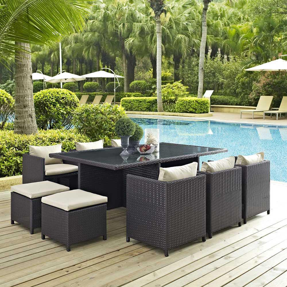 Modway Reversal 11 Piece Outdoor Patio Dining Set - Espresso Beige