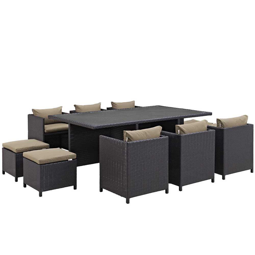 Modway Reversal 11 Piece Outdoor Patio Dining Set - Espresso Mocha