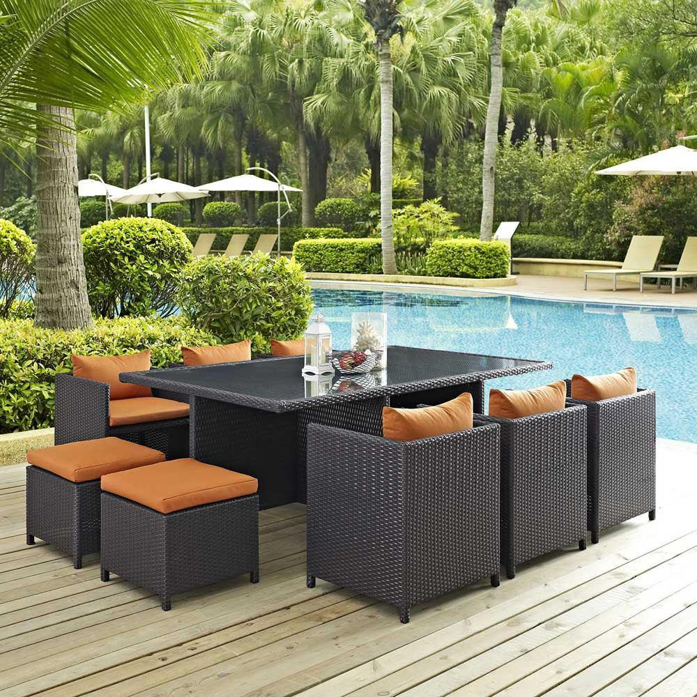 Modway Reversal 11 Piece Outdoor Patio Dining Set - Espresso Orange