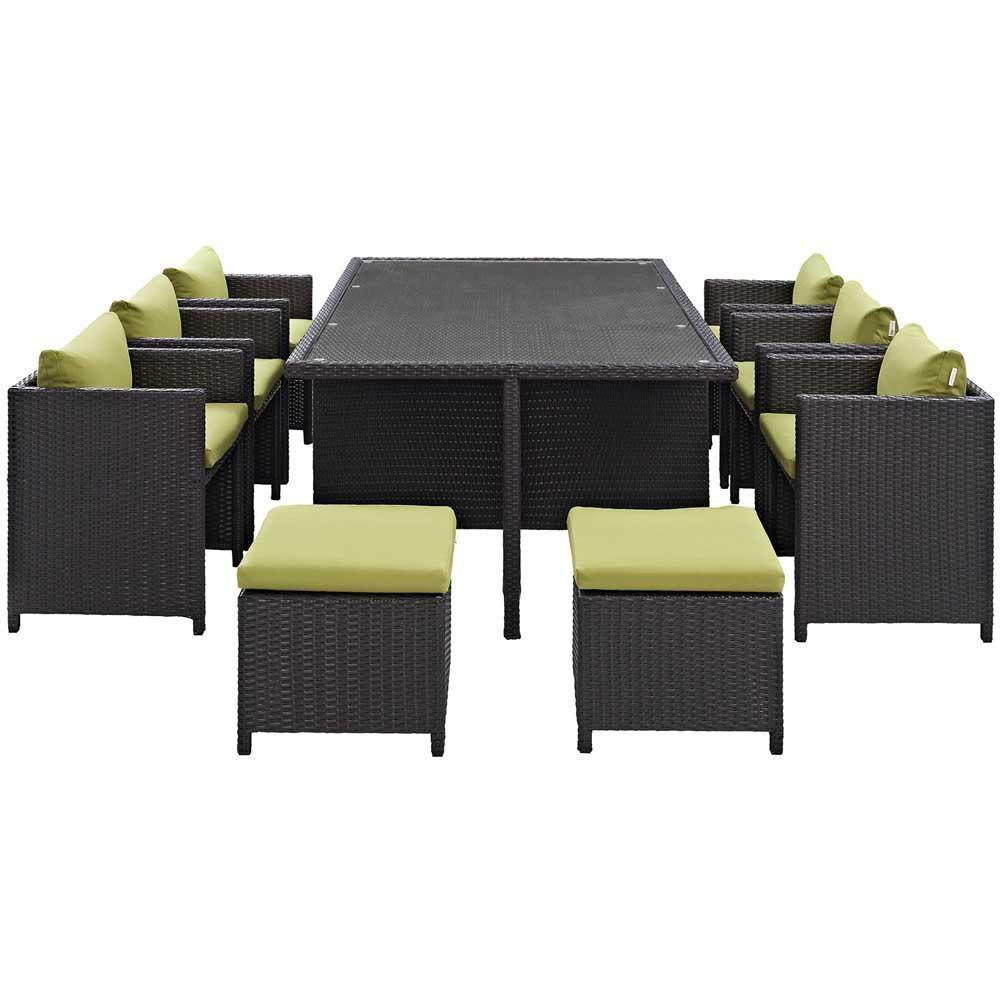 Modway Reversal 11 Piece Outdoor Patio Dining Set - Espresso Peridot