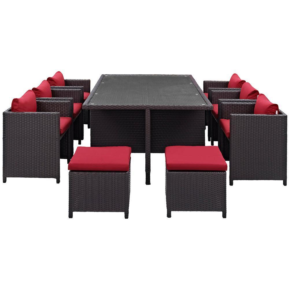 Modway Reversal 11 Piece Outdoor Patio Dining Set - Espresso Red
