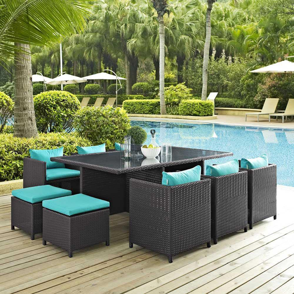 Modway Reversal 11 Piece Outdoor Patio Dining Set - Espresso Turquoise