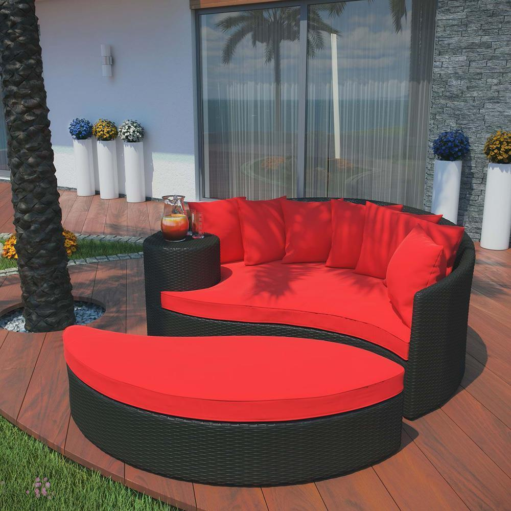 Modway Taiji Outdoor Patio Wicker Daybed - Espresso Red