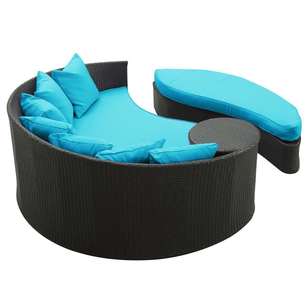 Modway Taiji Outdoor Patio Wicker Daybed - Espresso Turquoise
