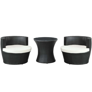 Modway Canteen 3 Piece Outdoor Patio Lounge Set - Espresso White