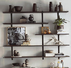 Roost Ebonized Wood Wall Shelves