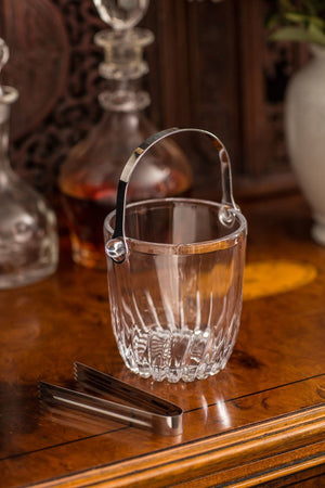 Vagabond Vintage Glass Ice Bucket with Tongs - Set of 2