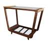 Wooden Bar Cart- Walnut, Smoked Glass & Brass