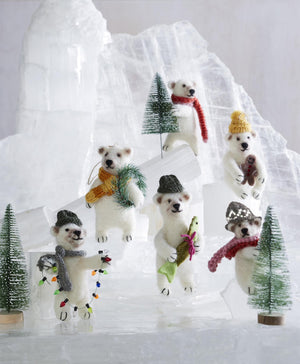 Roost Merry Polar Bear Ornament - Set Of 18