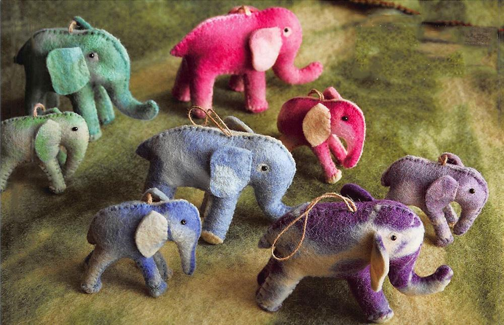 Roost Tie-Dyed Elephant Ornaments - Set Of 16
