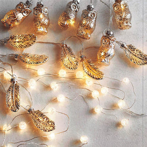 Roost Mercury Glass Owl & Feather Lights - Set Of 4