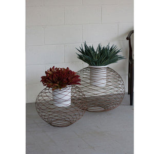 Kalalou Copper Finish Wire Ball Planters With White Pots - Set Of 2