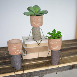 Kalalou Set Of 3 Clay & River Rock Pot Head Shelf Sitters