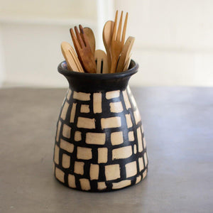 Kalalou Black And White Clay Lenca Vessel With Square Pattern