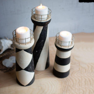 Kalalou Set Of 3 Clay Light Houses