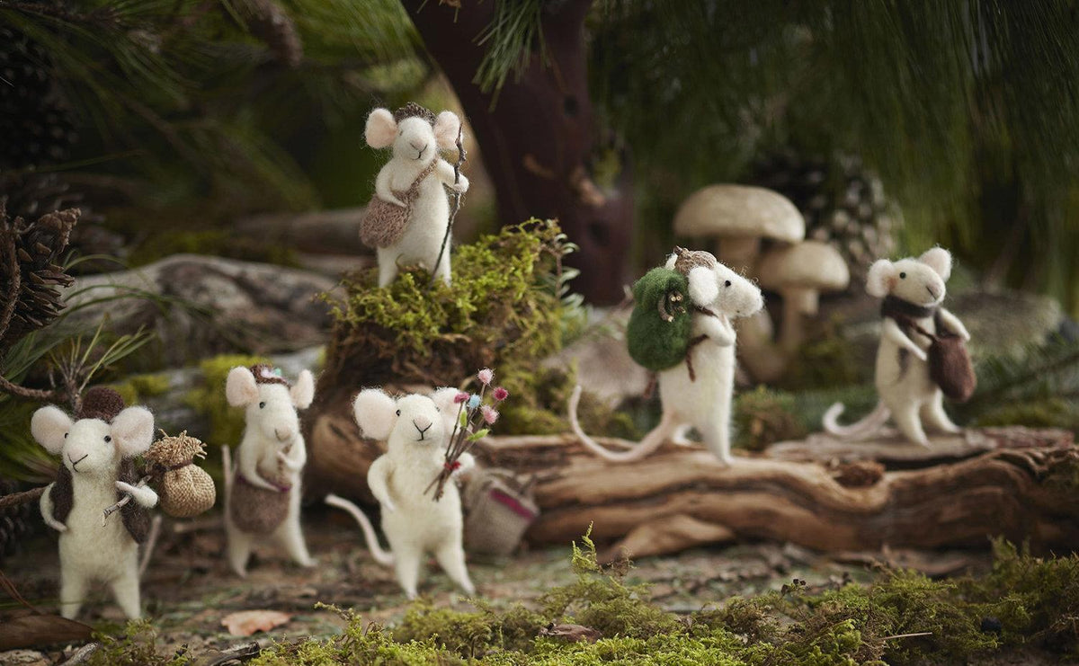 Roost Traveling Mice Holiday Decorative Ornaments -  Set Of 6