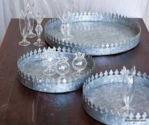 Metallic Round Crown Tray - 2 Sizes
