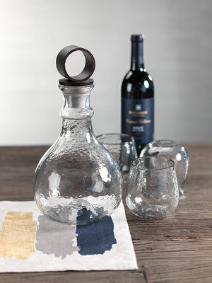 Zodax 12.5-Inch Tall Garan Hammered Glass Decanter