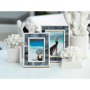 "Zodax Mendocino Blue Carved Bone Photo Frame- 5"" x 7"""