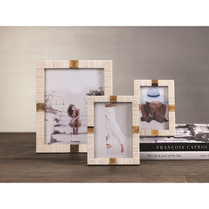 "Zodax Maha Bone with Brass Trim Photo Frame- 8""x 10"""