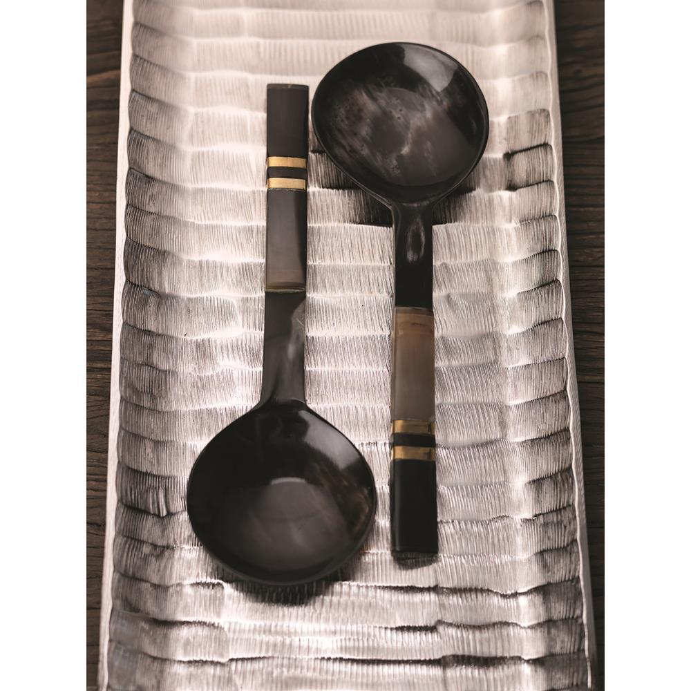Zodax Seychelles Salad Server with Horn Handle Pair