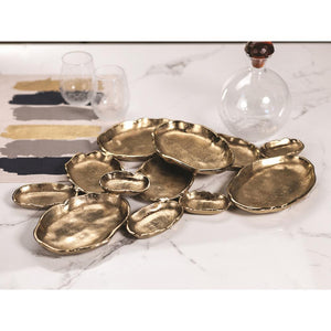 Zodax Cluster of Twelve Oval Serving Bowls - Gold