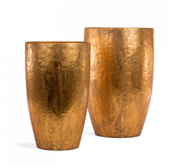Gold Leaf Hammered Suza Planter - Set/ 2
