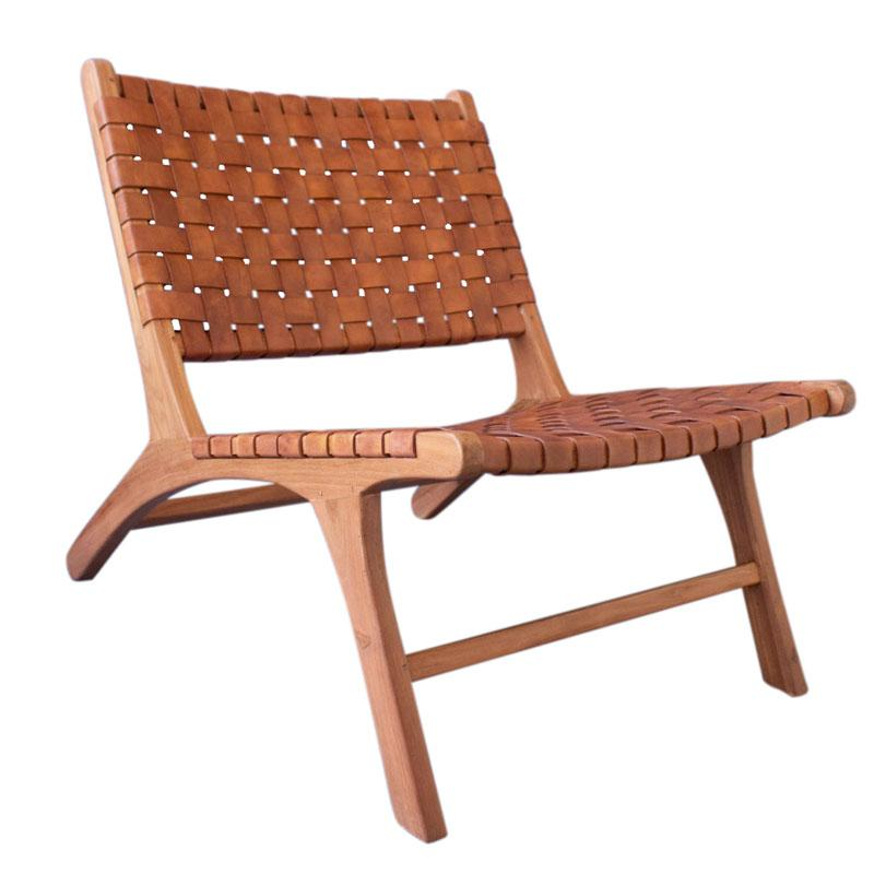 Teak wood and Leather Lounge Chair  by Artisan Living