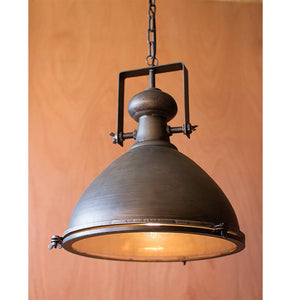 Kalalou Large Metal Pendant With Glass Cover