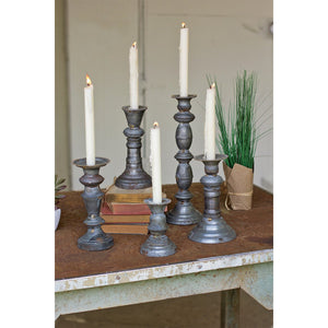 Kalalou Zinc Candle Holders With Brass Detail - Set Of 5