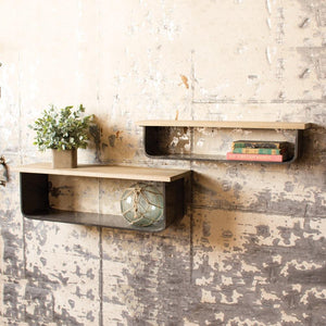 Kalalou Metal And Wood Wall Shelves - Set Of 2