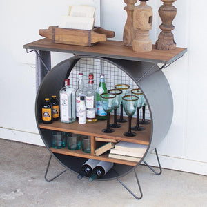 Kalalou Round Metal Cubby Console With Slatted Wood Top